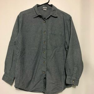 Cherokee greens and white button down shirt